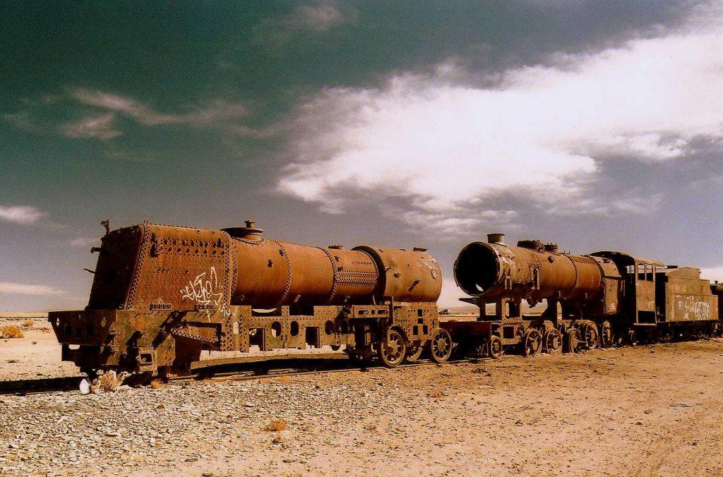 Train gravyeard in the salt flats of Bolivia