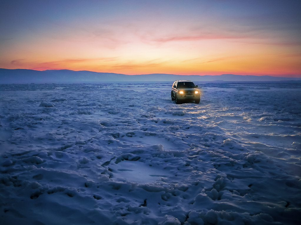 Car on Lake Baikal